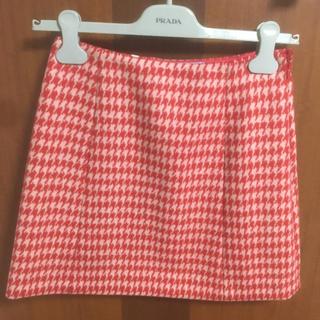 プラダ(PRADA)の新品未使用☆ PRADA プラダ スカート 36 ウール 千鳥格子 赤(ミニスカート)