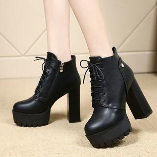 新作ファッション 秋冬 革靴 ハイヒール  ブーツ 黒