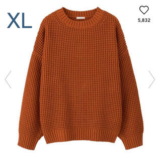 GU - ★gu ワッフルセーター ニット オレンジ ブラウン XL・