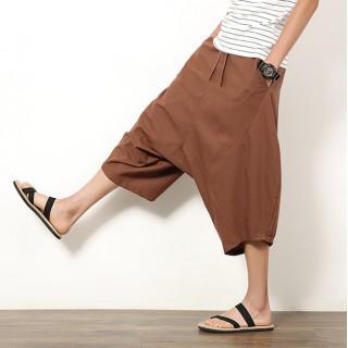 サルエルパンツ 袴 パンツ ワイド ビッグサイズ メンズ ブラウン Lサイズ(サルエルパンツ)