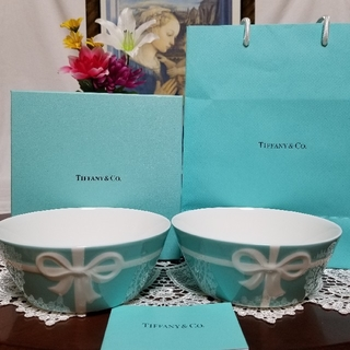 Tiffany & Co. - TIFFANY&Co. 新品未使用 箱と袋付き ブルーボックスボウル 2点セット