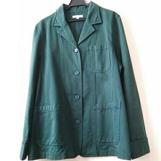 フェリシモ(FELISSIMO)のフェリシモ コットン ワークシャツ コート ダークグリーン(テーラードジャケット)