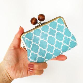 ゆったりサイズ☆子がま口のお財布(モロッカンタイル ブルー×茶玉)(財布)