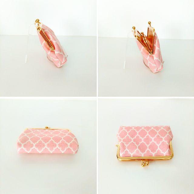 ゆったりサイズ☆親子がま口のお財布(モロッカンピンク) ハンドメイドのファッション小物(財布)の商品写真
