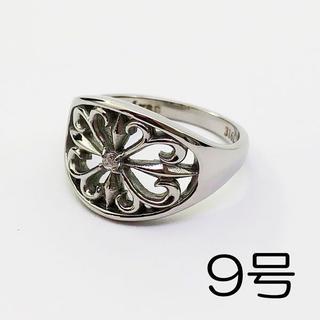 ジルコニア 花 シルバー サージカルステンレス 細身 指輪 リング(リング(指輪))