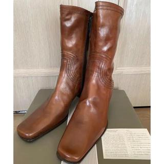 トゥモローランド(TOMORROWLAND)のFRANCO MARTINI フランコマルティーニブラウンブーツ37新品未使用品(ブーツ)