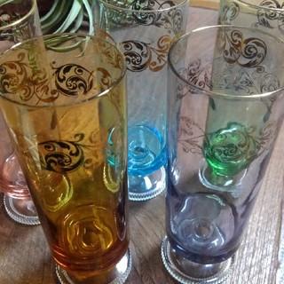 トウヨウササキガラス(東洋佐々木ガラス)の昭和レトロ レトロ 脚付グラス 脚付コップ セット(グラス/カップ)