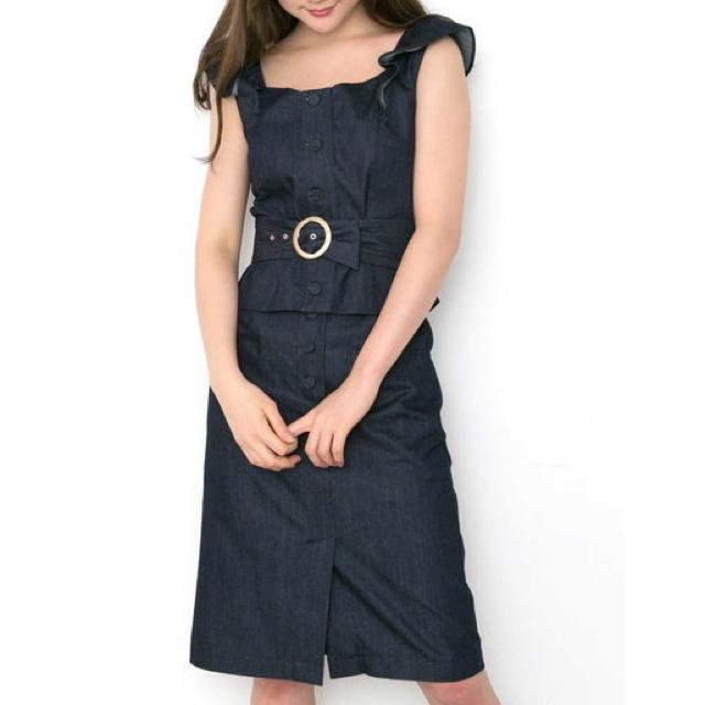 JILL by JILLSTUART(ジルバイジルスチュアート)のジルスチュアート デニム フリル セットアップ ワンピ Jill 美品 スカート レディースのワンピース(ひざ丈ワンピース)の商品写真