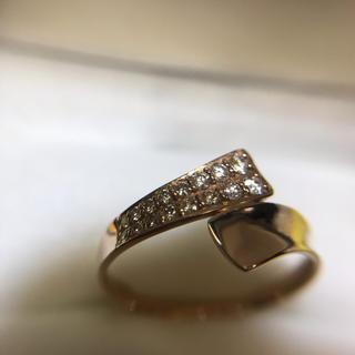 k18 ピンクゴールド 天然ダイヤモンド リング 10号 美品✨