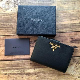 PRADA - 新品 プラダ サフィアーノ 二つ折り財布 ブラック 人気‼︎