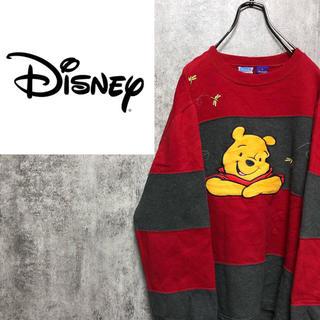 Disney - 【激レア】ディズニー☆くまのプーさんビッグキャラ刺繍太ボーダースウェット 90s