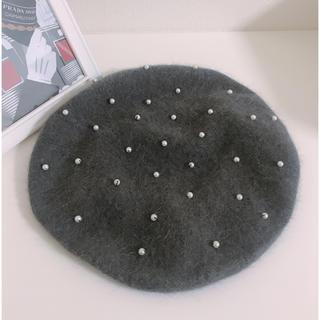 アクシーズファム(axes femme)のaxes femme グレー パール ベレー帽 (ハンチング/ベレー帽)