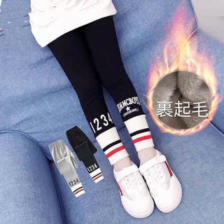 KTBA032秋冬キッズ 綿 裏起毛厚手 パンツ レギンス(2色110-160)