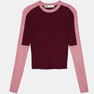 ZARA - ZARA カラーブロックセーター pink