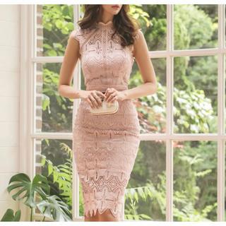 ワンピース(S)ベビーピンク かぎ編み レース 結婚式 パーティー ドレス(ひざ丈ワンピース)