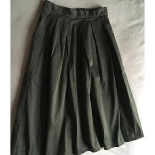 ジーユー(GU)のGU♡ジーユー♡カーキ♡スカート♡ウエストゴム♡チノスカート(ひざ丈スカート)