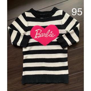 バービー(Barbie)のバービー ボーダーニット ワンピース 95センチ(ワンピース)