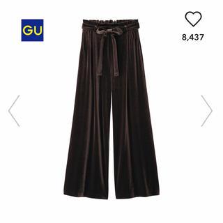 ジーユー(GU)の【GU】ベロアワイドパンツ Sサイズ(カジュアルパンツ)