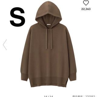ジーユー(GU)のGU フーディニットチュニック ブラウン 茶色 Sサイズ(ニット/セーター)