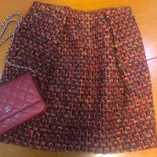 バーニーズニューヨーク(BARNEYS NEW YORK)のヨーコチャン yokochan スカート ツイード 赤 (ミニスカート)