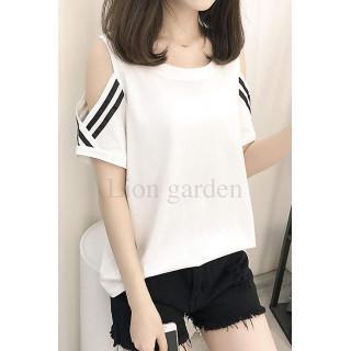 新品☆ オープンショルダー スポーティ Tシャツ ホワイト(Tシャツ(半袖/袖なし))