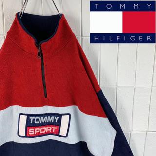 トミーヒルフィガー(TOMMY HILFIGER)のトミースポーツ フリース ハーフジップ タグなし 刺繍ロゴ ゆるダボ かわいい(ブルゾン)