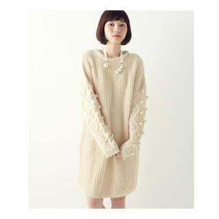ハコ(haco!)のhaco! パプコーン編みがかわいい おしゃれニットワンピ(ひざ丈ワンピース)