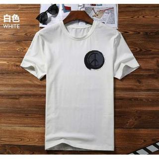 在庫処分 半袖 Tシャツ ワンポイントデザイン♪ メンズ レディース L 白(Tシャツ/カットソー(半袖/袖なし))