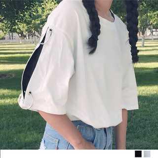 レディーストップス トップス Tシャツ カットソー リング付き 無地 カジュアル