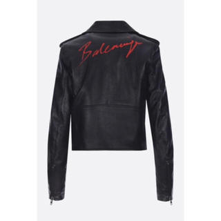 Balenciaga - 【BALENCIAGA】ロゴプリント レザー ライダース ジャケット