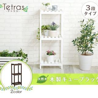 新品 木製キューブラック 3段【Tetras-テトラス-】(その他)