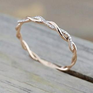 18号*ジルコニアライン*ねじりツイストリング指輪*Silver925*ゴールド(リング(指輪))