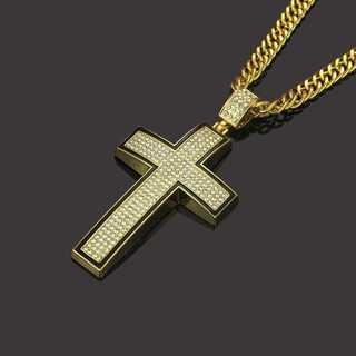 十字架 クロス ネックレス ゴールド ヒップホップ ジルコニア チェーン76cm