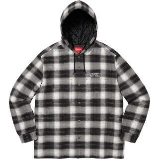 Supreme - Supreme Quilted Hooded Plaid Shirt 黒 XL