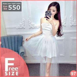 キャバドレス 97W ホワイト テールカット 編み上げ ミニドレス F(ミニドレス)