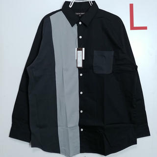 新品 Lサイズ 長袖シャツ カットソー切り替え ブラック
