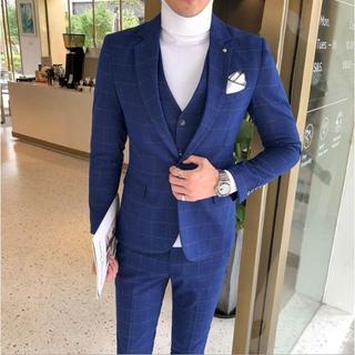 フォーマル ビジネススーツ スリーピーススーツ チェック柄スーツ(セットアップ)
