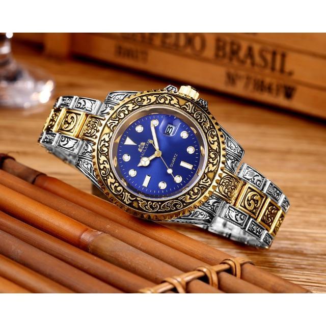 【PAULAREIS】彫刻腕時計Vintage Quartz ゴールドブルーの通販 by yu224's shop