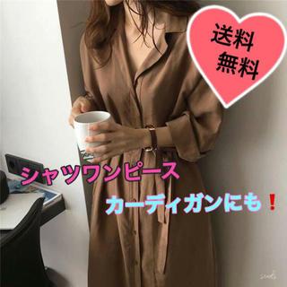ロング シャツ カーディガン 羽織にもなる☆ 可愛いシャツワンピース(シャツ/ブラウス(長袖/七分))