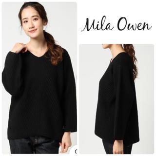 ミラオーウェン(Mila Owen)のMila Owen ウールアルパカ 厚手リップル編みVネックニット0 ブラック(ニット/セーター)