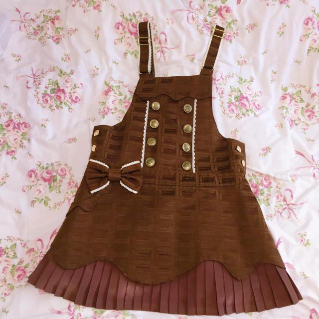 Angelic Pretty(アンジェリックプリティー)のRoyal Chocolateダブルボタンサロペット ブラウン レディースのパンツ(サロペット/オーバーオール)の商品写真
