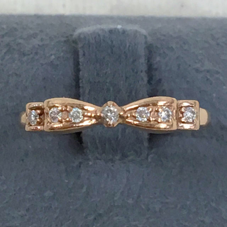 ヨンドシー(4℃)の4°C ダイヤモンド ルビー K10 リボンデザイン ピンクゴールド リング(リング(指輪))