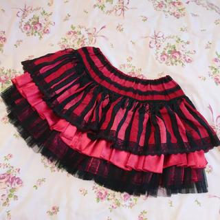 アルゴンキン(ALGONQUINS)の赤黒ストライプ スカート パンク アルゴンキン(ミニスカート)
