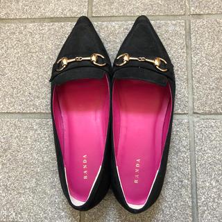ランダ(RANDA)のRANDA スウェード ローファー 黒(ローファー/革靴)