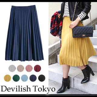 ティティベイト(titivate)のDEVILISH TOKYO フェイクスエード プリーツスカート マスタード(ロングスカート)