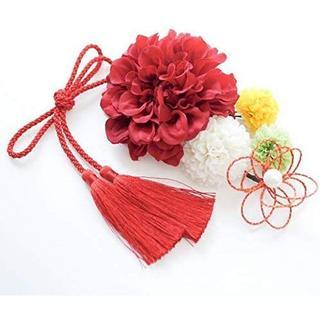 選べる11色展開 髪飾り6点セット 着物 浴衣 卒業式 赤マルチカラー系×赤(その他)