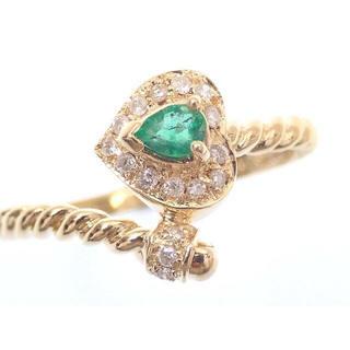 エメラルド ダイヤモンド ハート リング 指輪 K18(リング(指輪))