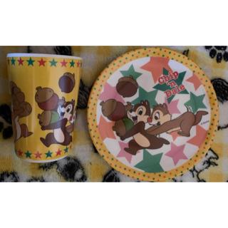チップアンドデール(チップ&デール)のチップとデール メラミンプレートとコップのセット ③(食器)