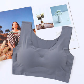 灰色Lサイズ!人気のノンワイヤーブラジャー 縫い目ゼロ 産後用 ナイトブラ