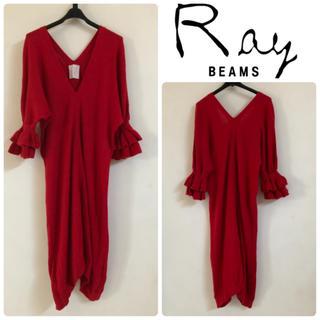 Ray BEAMS - RAYBEAMS フリルスリーブアンゴラニットワンピース 膝下ミディ丈 レッド赤